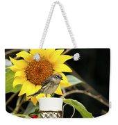 Sunflower And Warbler Bird Weekender Tote Bag