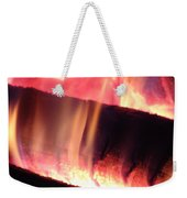 Warm Glowing Fire Log Weekender Tote Bag