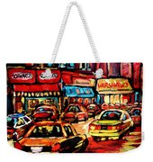Warshaw's Bargain Fruits Store Montreal Night Scene Jewish Montreal Painting Carole Spandau Weekender Tote Bag