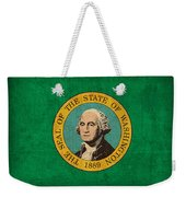 Washington State Flag Art On Worn Canvas Weekender Tote Bag