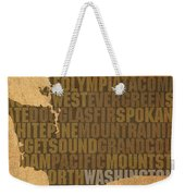 Washington Word Art State Map On Canvas Weekender Tote Bag