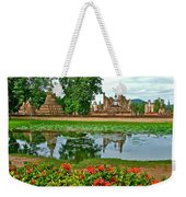Wat Mahathat Reflection In 13th Century Sukhothai Historical Park-thailand Weekender Tote Bag