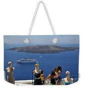 Watching The View In Santorini Island Weekender Tote Bag