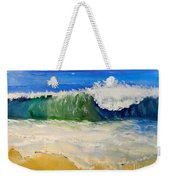 Watching The Wave As Come On The Beach Weekender Tote Bag by Pamela  Meredith