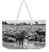 Water Buffaloes-black And White Weekender Tote Bag