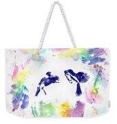 Water Color Bird Fight Weekender Tote Bag