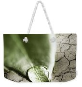 Water Drop On Green Leaf Weekender Tote Bag by Elena Elisseeva