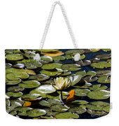Water Lily And Bees Weekender Tote Bag