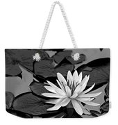 Water Lily Black And White Weekender Tote Bag