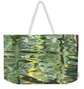 Water Reflection Green And Yellow Weekender Tote Bag