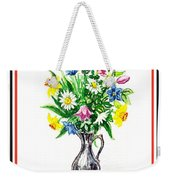 Watercolor Flowers Bouquet In Metal Pitcher Impressionism Weekender Tote Bag