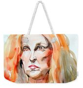 Watercolor Portrait Of A Mad Redhead Weekender Tote Bag