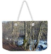 Waterfall In Winter Weekender Tote Bag