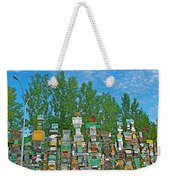 Watson Lake Sign Forest-yt Weekender Tote Bag by Ruth Hager