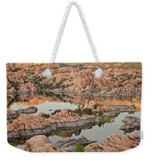 Watson Lake Sunset Weekender Tote Bag by Angie Schutt