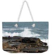 Wave Hitting Rock Weekender Tote Bag