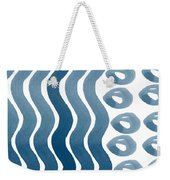 Waves And Pebbles- Abstract Watercolor In Indigo And White Weekender Tote Bag by Linda Woods