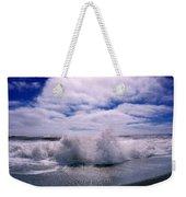 Waves Breaking At The Coast, Iceland Weekender Tote Bag
