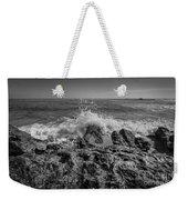 Waves Crashing Bw Weekender Tote Bag