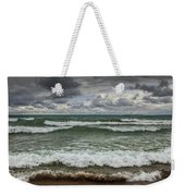 Waves Crashing On The Shore In Sturgeon Bay At Wilderness State Park Weekender Tote Bag