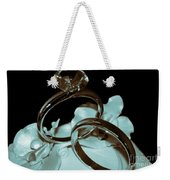 Wedding Ring Cake Topper Cyan Weekender Tote Bag