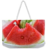 Wedge Of Watermelon, A Bite Taken, In A Glass Bowl Weekender Tote Bag