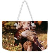 Weimaraner Hunting Dog Retrieving Ring Weekender Tote Bag
