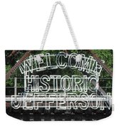 Welcome Historic Jefferson Texas Railroad Sign Weekender Tote Bag