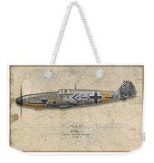 Werner Molders Messerschmitt Bf-109 - Map Background Weekender Tote Bag