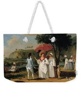 West Indian Landscape With Figures Promenading Before A Stream Weekender Tote Bag