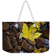 Wet Autumn Leaf On Stones Weekender Tote Bag