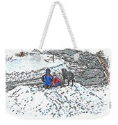 What Fascinates Children And Dogs -  Snow Day - Winter Weekender Tote Bag