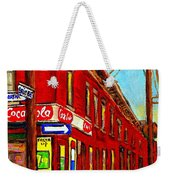 When We Were Young - Hockey Game At Piche's - Montreal Memories Of Goosevillage Weekender Tote Bag