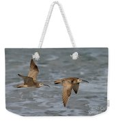 Whimbrels Flying Above Beach Weekender Tote Bag