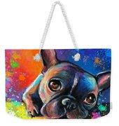 Whimsical Colorful French Bulldog  Weekender Tote Bag by Svetlana Novikova