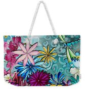 Whimsical Floral Flowers Dragonfly Art Colorful Uplifting Painting By Megan Duncanson Weekender Tote Bag