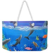 Whimsical Original Painting Undersea World Tropical Sea Life Art By Madart Weekender Tote Bag by Megan Duncanson