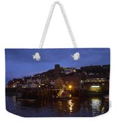 Whitby Lower Harbour And The Rnli Lifeboat Station At Night Weekender Tote Bag