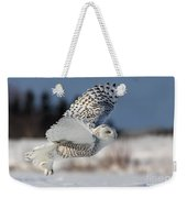 White Angel - Snowy Owl In Flight Weekender Tote Bag by Mircea Costina Photography
