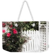 White Arbor With Red Roses Weekender Tote Bag