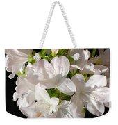 White Azalea Bouquet In Glass Vase Weekender Tote Bag