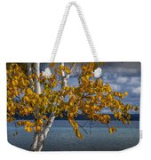 White Birch Tree In Autumn Along The Shore Of Crystal Lake Weekender Tote Bag