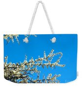 White Blossoms Blue Sky Weekender Tote Bag
