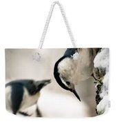 White Breasted Nuthatch In The Snow Weekender Tote Bag by Bob Orsillo