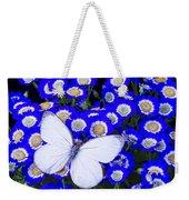 White Butterfly In Blue Flowers Weekender Tote Bag