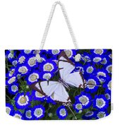 White Butterfly On Blue Cineraria Weekender Tote Bag