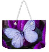 White Butterfly On Flowering Celosia Weekender Tote Bag