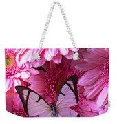 White Butterfly On Pink Gerbera Daisies Weekender Tote Bag