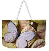 White Butterfly On Poinsettia Weekender Tote Bag