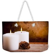 White Candles With Rose Weekender Tote Bag